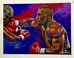 Bill Lopa Mike Tyson Signed Limited Edition Hand Ebellished 30x40 Aroc Giclee
