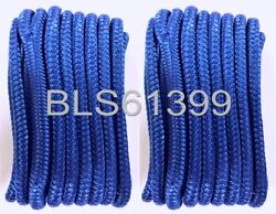 Set Of 2 Blue Double Braided 3/8 In X 15and039 Ft Hd Boat Marine Dock Line Ropes