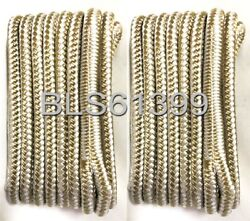 2 White And Gold Double Braided 1/2 In X 15and039 Ft Hd Boat Marine Dock Line Ropes