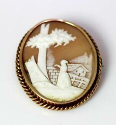 Antique 14k Yellow Gold Carved Shell Cameo Lady By Building Pin 1.75andrdquo Andndash 10057