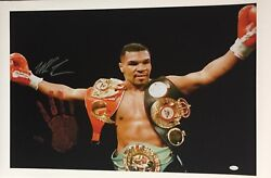 Mike Tyson Original Hand Print Unstretched 20x36 Canvas Signed Jsa Wp276759 3