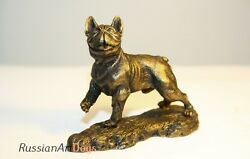 French Bulldog  (bronze color) statue dog miniature pewter figurine tin