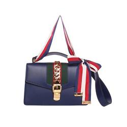 GUCCI Navy Small Sylvie Leather Green & Red Web & Ribbon Bag Purse - Ret. $2.6k