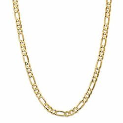 14k Yellow Gold 6.75mm Concave Open Figaro Link Chain Necklace
