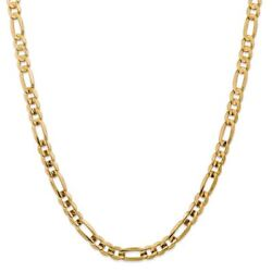 14k Yellow Gold 7.50mm Concave Open Figaro Link Chain Necklace