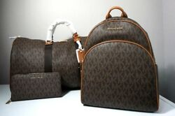 Michael Kors Signature Brown X-Large Travel Duffle Backpack & Travel Wallet Set