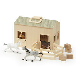 Wooden Horse Stable Doll House Children Play Toy Barn Carry Handle Farm Animal