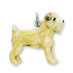 .925 Sterling Silver Enamel Soft Coated Wheaton Terrier Dog Charm Pendant