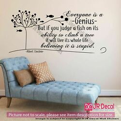 Einstein quot;Everyone is a Geniusquot; Inspirational quote wall Nursery wall stickers