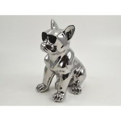 French Bulldog dog statue with glasses in silver ceramic. Height 117 inches