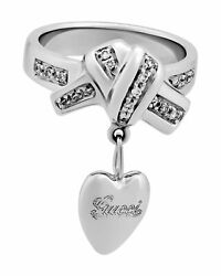 Vintage Tom Ford For 18k White Gold Heart Charm Ring With Diamonds Size 8