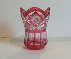 American Brilliant Cranberry Cut-to-clear Glass Vase C. 1990