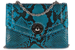 D'ESTE WOMEN'S CLUTCH WITH SHOULDER STRAP HANDBAG BAG PURSE NEW  PITONE BLUE 306