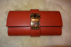 NEW HERMES Medor Clutch Bag in Sanguine with Gold Hardware Extremely Rare $5771