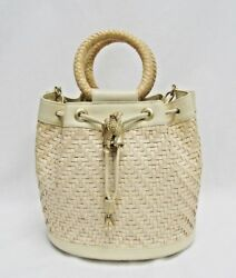 Barry Kieselstein Cord Bucket Bag Leather Weave Drawstring Beige Cream Frog RARE