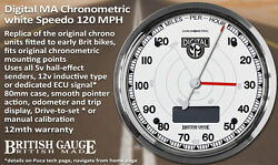 White Face Digital Chronometric Speedometer 120mph With Kph Scale British Gauge