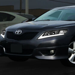 2x Sequential LED Turn Signal+DRL Projector HeadlightLamp For 10-11 Camry Black