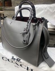 New NWT Coach Rogue 36 in Heather Gray with Snake Detailed Handles 58965 $1300