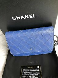 Auth Chanel Wallet On Chain*WOC *Calf Skin* *Blue* Silver HW* Rare Item**