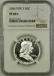 1956 Type 2 Us Franklin Silver Half Dollar 50c Coin Ngc Pf-69 Star, Cameo