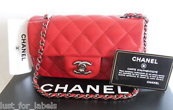 CHANEL Classic Red Quilted Leather Silver CC Mini Crossbody Flap Bag NWT