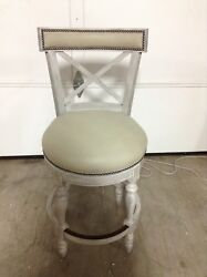 Frontgate Griffith X Back Swivel Counter Bar Stool 26 Seat Height Grey Leather