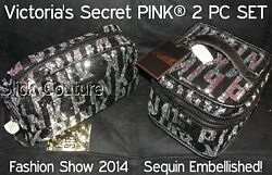 Victoria's Secret PINK SEQUIN Train Case & Large Makeup Bag FASHION SHOW 2014