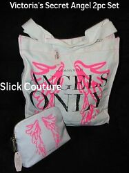 Victoria's Secret ANGELS ONLY Tote Bag & Makeup Case Ivory Pink Wings 2pc Set NW
