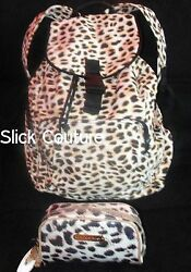 Victoria's Secret BACKPACK Book Bag LEOPARD Animal BONUS! MATCHING COSMETIC CASE