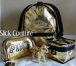 Victoria's Secret PINK CAMPUS BACKPACK GOLD Train Case Cosmetic Bag Dog 4pc SET