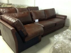Pottery Barn Pearce Couch Sofa Sectional Whiskey Leather Right Arm Love And Wedge