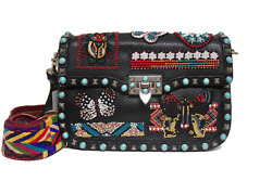New Valentino $5245 Rockstud Rolling Ricamo Beaded Leather Guitar Strap Bag