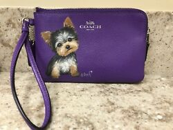 Hand Painted Art Yorkshire Terrier YORKIE dog Coach Wristlet Leather