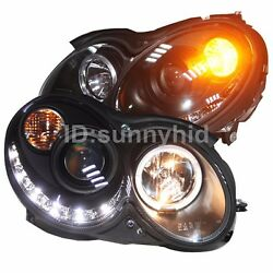 LED Angel eyes For Benz W209 CLK200 230 280 320 350 Head Lamps 2004-2009 Black