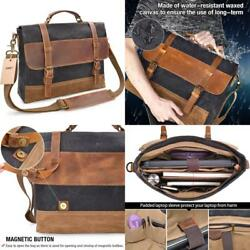 Newhey Mens Messenger Bag Waterproof Canvas Leather Computer Laptop 15 Inch Case
