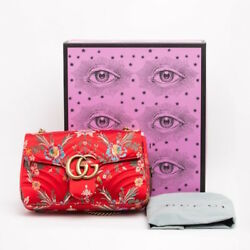 GUCCI RED LARGE GG MARMONT JACQUARD SILK FLAP SHOULDER BAG SOLD OUT LIMITED EDIT