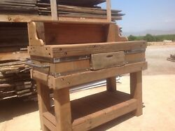 Garden Potting Bench Rustic,reclaimed Barn Wood W/ Shelving, Pegboard For Tools