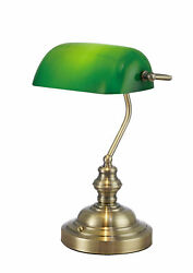 Deco D0085 Morgan Bankers Lamp Table Desk Lamp Antique Brass Green Glass Shade