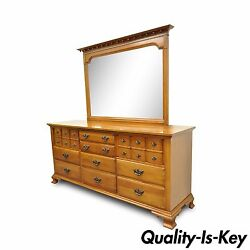 Vintage Monitor American Emblem Colonial Cherry Wood Long Dresser Chest And Mirror