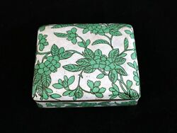 Antique Chinese Green Cloisonne Floral Flower Box,late Qing/ Republic