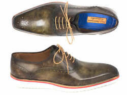 Paul Parkman Smart Casual Oxford Shoes For Men Army Green Id184snk-grn