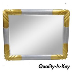 Vtg Gold And Silver Leaf Hollywood Regency Art Deco Style Wall Mirror By Turner