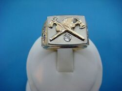 Handmade 14k Gold Heavy 18.5 Grams Firefighter Ring With Diamonds Size 10