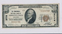 Rc0243 1929 National Currency Chippewa Falls 10 Chart 3778 Combine Shipping