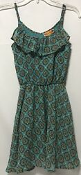 She#x27;s Cool Girls Cinched Waist Ruffle Dress 10 12 Polyester NWOT $14.99