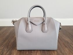 Authentic Givenchy Antigona Gray Leather Medium Satchel Bag Handbag $2450