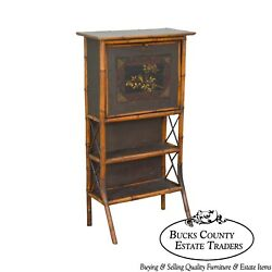 Antique 19th Century Victorian Bamboo Aesthetic Fall Front Desk