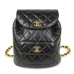 CHANEL CC Logo Quilted Lambskin Leather Backpack Bag Black #41911 free shipping