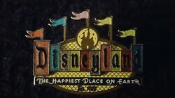 Disney Retro Disneyland Happiest Place On Earth Sign Marquee Flag Pin Layered