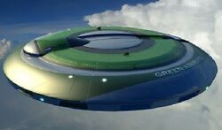 Green Airways Futuristic Flying Saucer Wood Model Replica Small Free Shipping